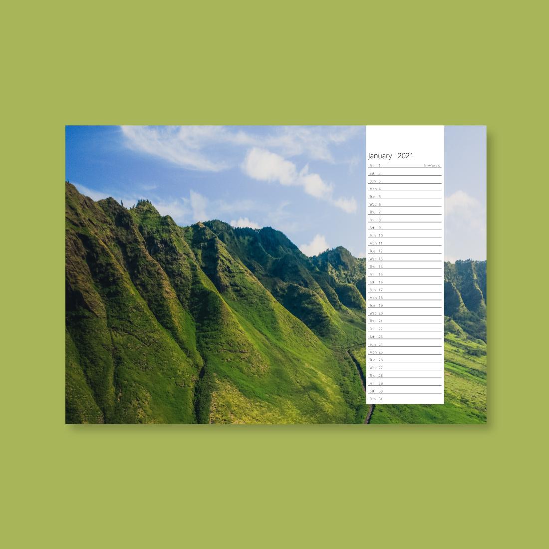 A3 landscape style 1 wall calendar