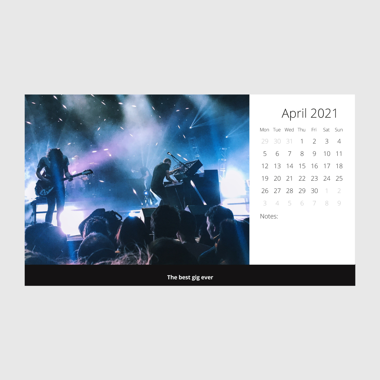 Large format CD desktop calendar artwork