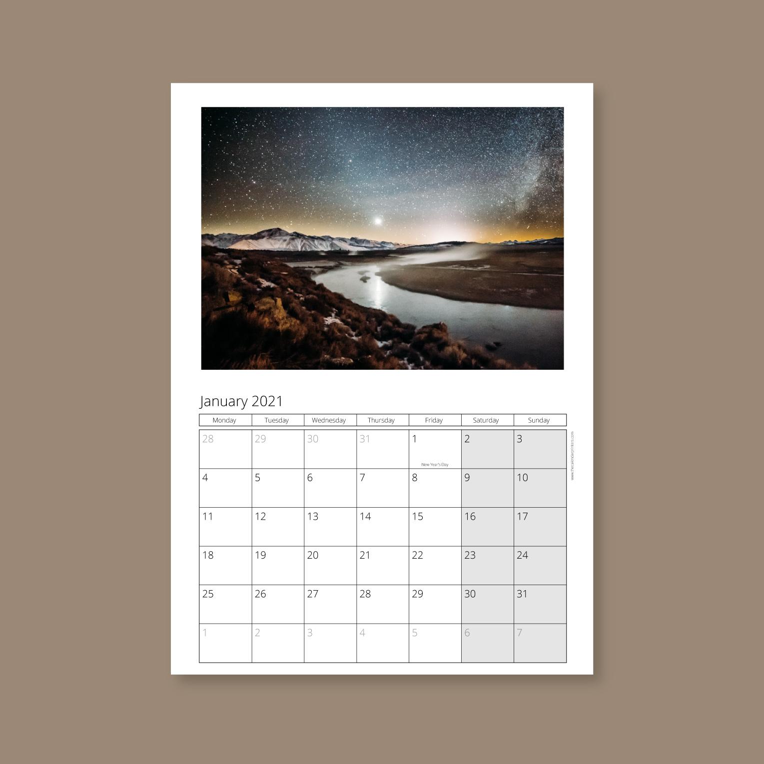 A4 wall calendar portrait style 1