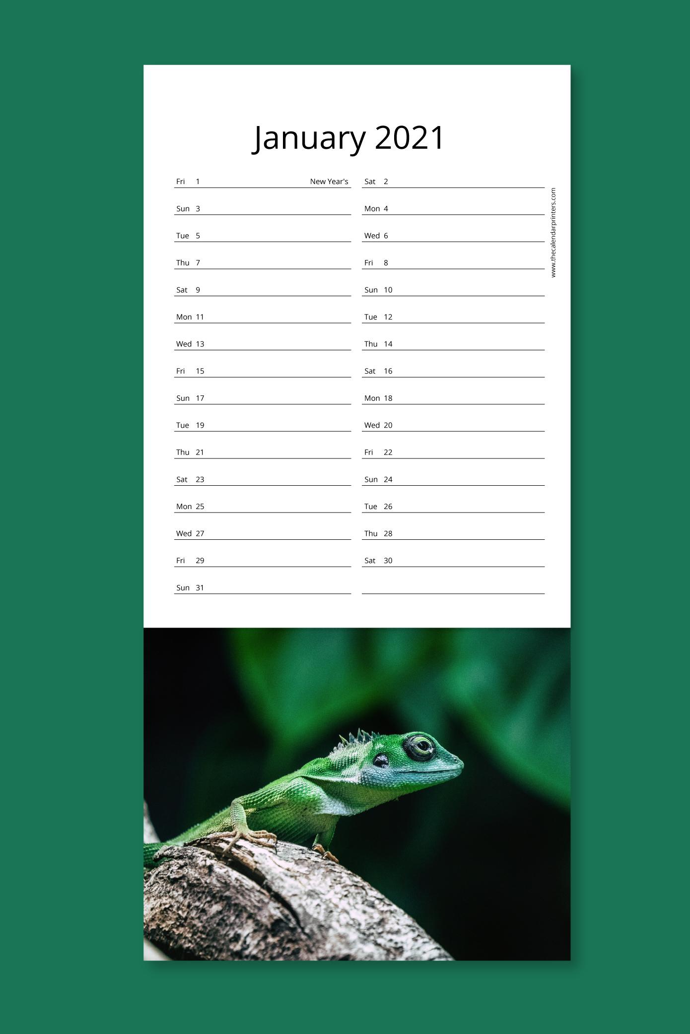 Slim calendar - detachable post card style