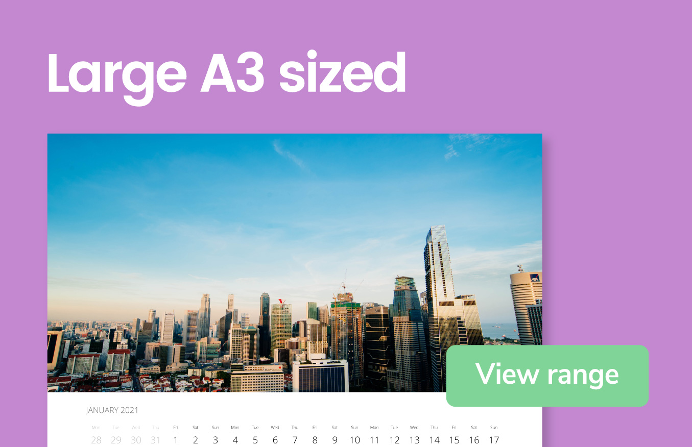 Large A3 sized wall calendars