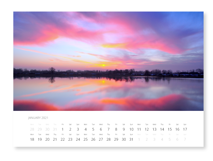 Sunsets on your wall calendar