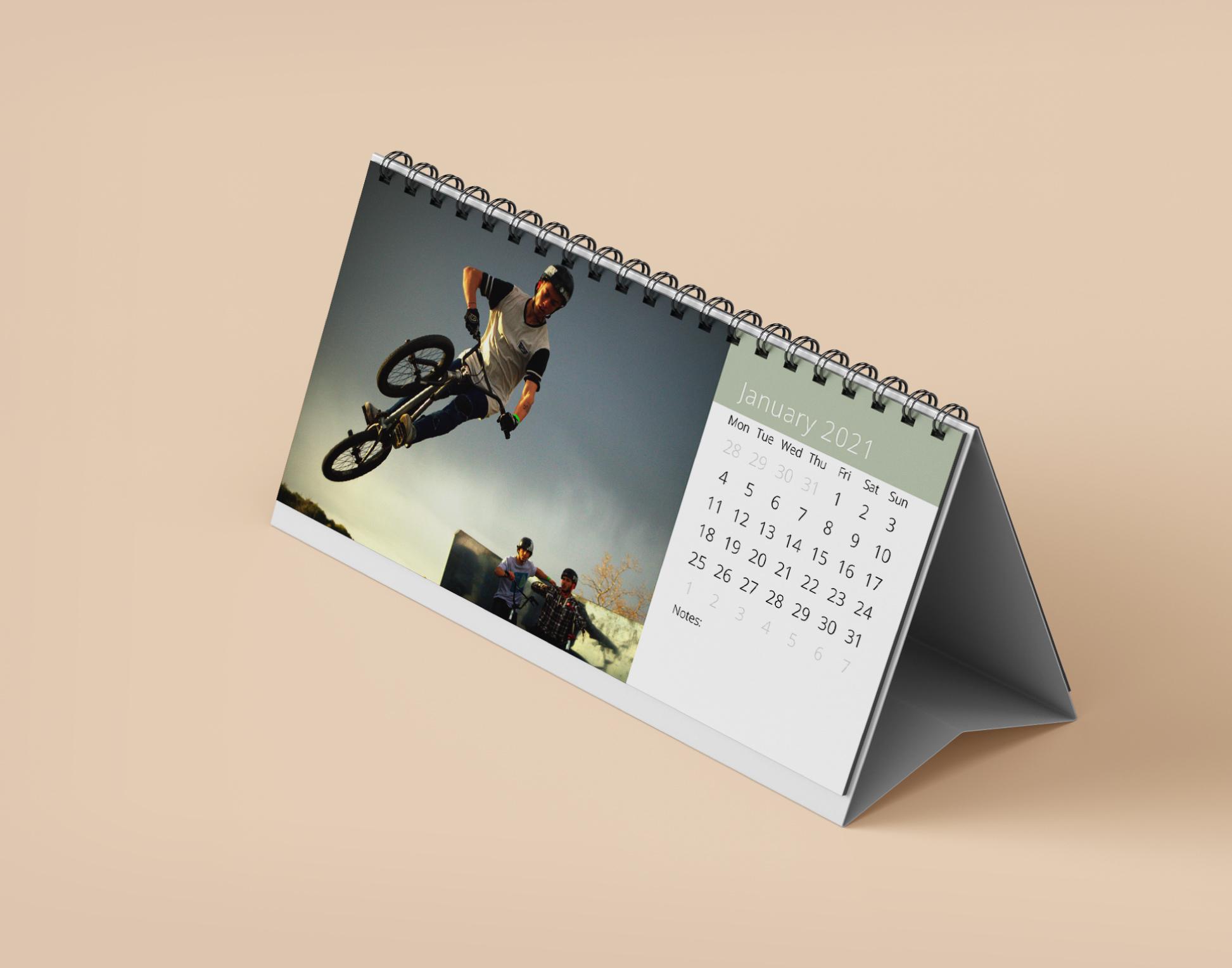Flip over calendar slim style