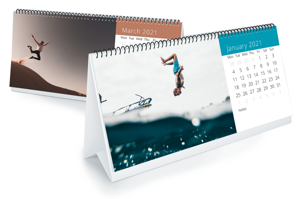 Two slim flip over desk calendars